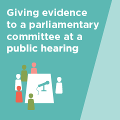 Giving evidence to a parliamentary committee at a public hearing brochure