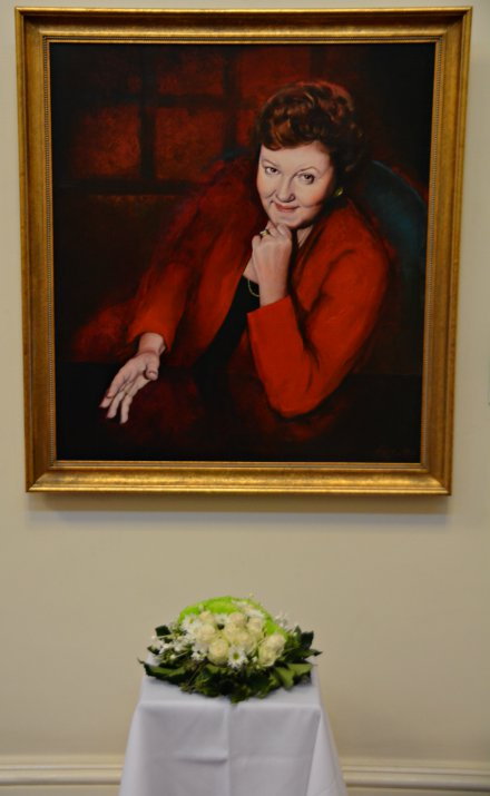Flowers at Joan Kirner portrait
